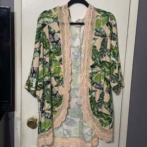 Tropical kimono coverup top